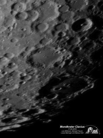 Mondkrater Clavius und Umgebung, erstellt und bearbeitet von Luis Wittmann