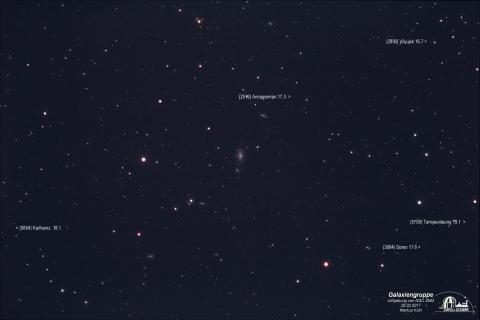 NGC 2943 mit Umgebung und beschrifteten Asteroiden